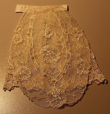 ANTIQUE LACE EMBROIDERED NET LACE COLLAR JABOT FLORAL w/White tiny pearls