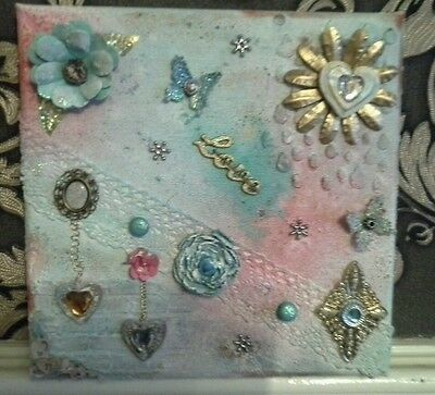 "OOAK Original Mixed Media 8"" x 8"" Canvas ** vintage shabby chick love"
