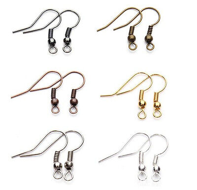 Wholesale NEW DIY 100PCS / 500PCS Earring Hook Coil Ear Wire For Jewelry Making