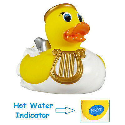Baby Bath Rubber Duck Toy Water Floating Angel Ducky with Hot Water Indicator