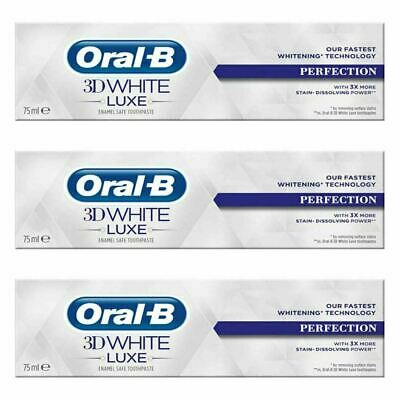 3x Oral-B 3D White Luxe Perfection Mint Toothpaste Whitening Enamel Protect 75ml