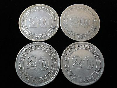 Straits Settlement 1884 1886 1895 1900 20 Cent Silver Coin  #NLB1
