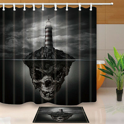 """71""""Bathroom Waterproof Polyester Shower Curtain with hooks Skull head lighthouse"""