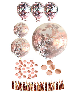 ROSE GOLD Confetti & Balloons Packs For Birthdays or Wedding Throw Mylar Foil