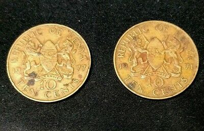 KENYA 10 Cents 1971 and 1977 Lot of 2 Coins Foreign World