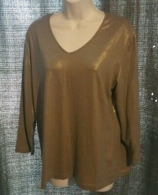 CHICO'S  Long Sleeve Knit Top ~Silver size 2