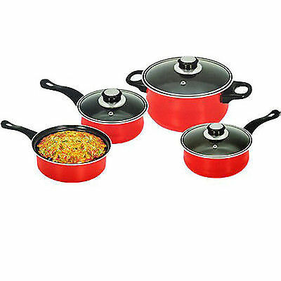 Red Non Stick 7Pc Cookware Set Steel Pan Pot Carbon Saucepan Glass Lid Kitchen