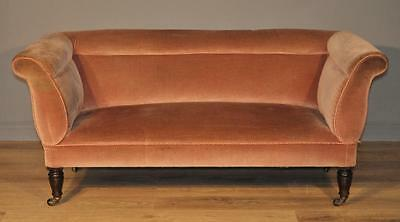 Attractive Small Antique Edwardian Mahogany Pink Upholstered Sofa Settee Couch