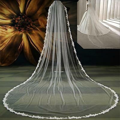 1 tier 3m Long Applique Lace Edge Wedding Bridal Veil Cathedral Veils with comb