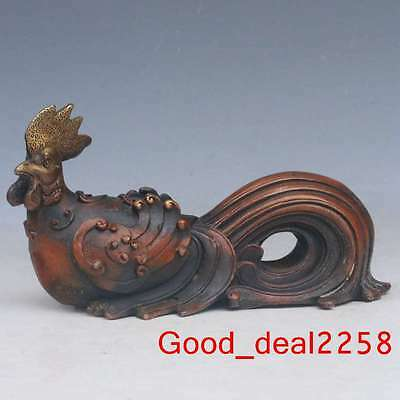 Chinese Pure copper Hand-carved Roosters Statue