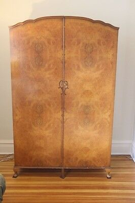 Antique Burled Walnut Armoire Dresser or stereo/storage cabinet