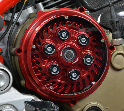 Ducati Monster/Hypermotard 1100 clutch cover Plexy window red NEW
