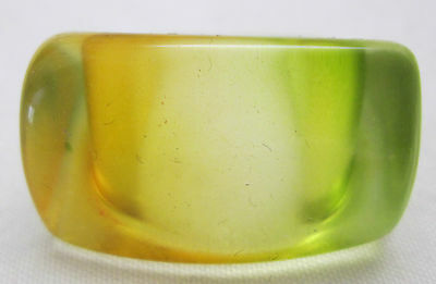 Vintage Hippy Retro Mod 1970'S Lucite Dome Boho Ring Size 7 Amber Green Clear