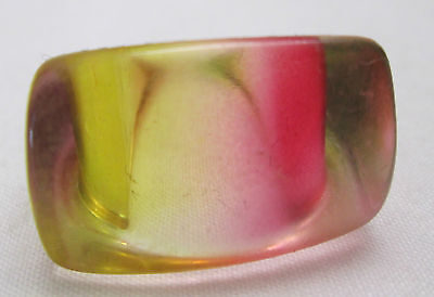 Vintage Hippy Retro Mod 1970'S Lucite Dome Boho Ring Size 6.5 Pink Purple Green