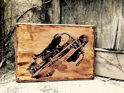 Board Track Racer Vintage Motorcycle Wooden Picture Home Decor Garage Art Decor