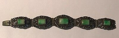Antique Signed Chinese silver and Jade Panel bracelet