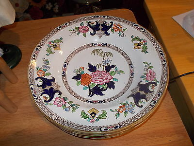 6 Minton YORK Soup Bowls - Pink, Blue & Yellow Flowers, Brown Bands