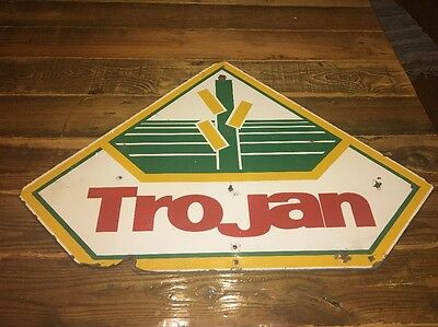 Vintage Trojan Seed Sign Double Sided