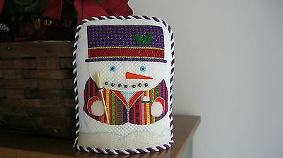Finished Needlepoint Stand Up Snowman - OOAK Needlework Crewel Embroidery