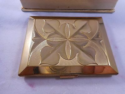 Vintage Richard Hudnut Goldtone Metal Art Deco Rouge And Compact In Box