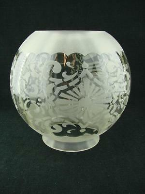 Vintage Victorian Style Etched Globe Satin Glass Oil Lamp Shade, Stylised Design