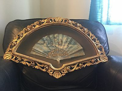 Vintage Gold Gilt Italian Shadow Box Frame Artist Signed Hand Painted Fan