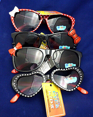 Toddlers Girls Kids Sunglasses 100 % UV Protection Bows Hearts Polka Dots Red