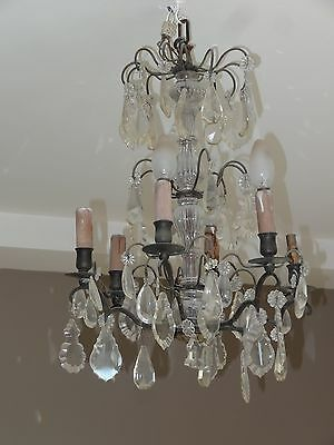 ancien lustre bronze à pampilles cristal 6 branches french crystal chandelier