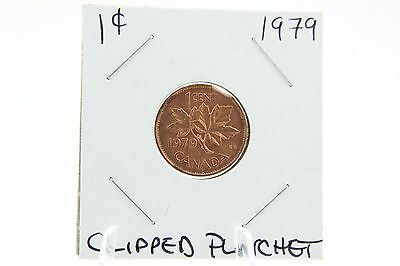 Canada 1 Cent Penny Collection - 1979 Mint State With Clipped Planchet - ERROR