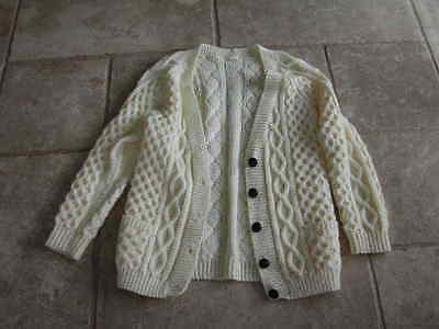 Hand Knitted Cable Cardigan - Cream