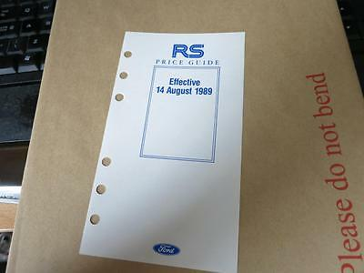 Ford - Price List Guide - Rs - Escort Rs Turbo Sierra Sapphire Cosworth Aug 1989