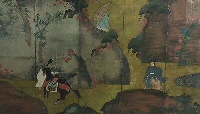 "Superb Antique Chinese Painted Panel Farmers Scene 40""X26"""