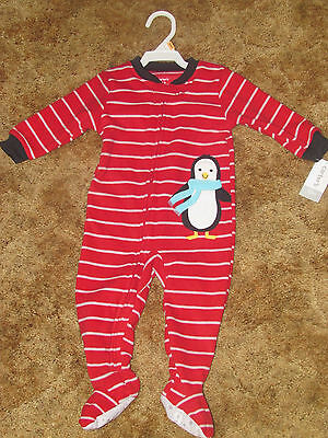 Boys Carter's NWT red striped fleece long sleeved penguin 1 pc. pajamas size 12m