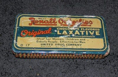 Vintage Rexall Drug Advertising Tin Orderlies Chocolate Laxatives