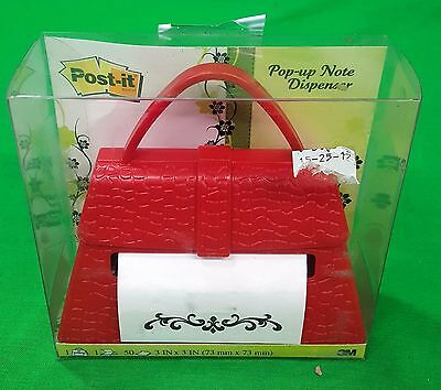 New Red Purse Post-it Pop-Up Note Dispenser Faux Alligator Pattern Paperweight