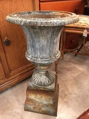 Vintage ** Antique Cast Iron Urn Garden Planter Stand - Architectural ~ 3 Piece