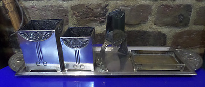 Rare Wmf Secessionist Art Nouveau Silver Plated  Smokers Set