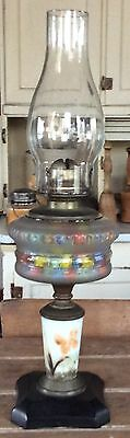 Antique Composite Flower Painted Oil Lamp with Metal Base Body With Marbles
