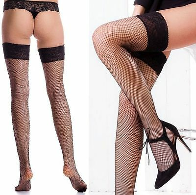 Size M/L Black Fishnet Thigh High Stay Up Stockings Nylons Silicone Band