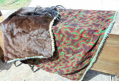 "Vintage Horse Hide Wool Carriage Blanket Cownie Tanning Co Des Moines 53"" x 69"""