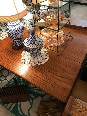 Solid Beauty - Large Oak Antique Drop Leaf Kitchen Table With Leafs