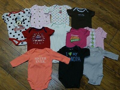 Lot of 11 Namebrand Infant Girls Onesie T-shirts ~~ Size 3-9 Months