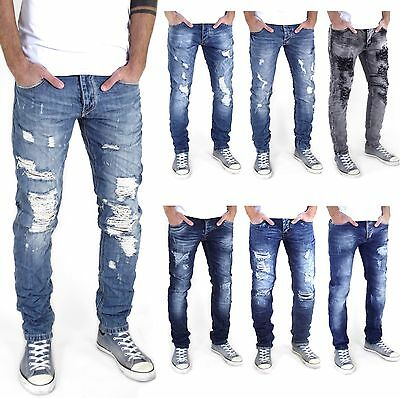 Neu Herren Destroyed Slim Skinny Fit Designer-Jeans Stretch Hose versch. Größen