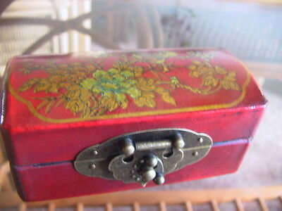 Red leather covered hand painted lid Chinese box