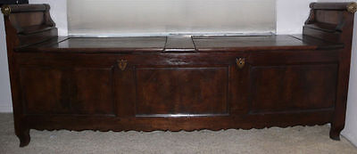 French Oak Coffer Bench From Alsace * Circa 1860 * Imported From France