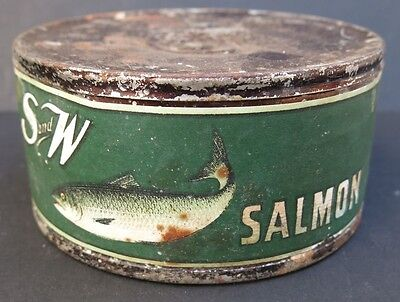 VINTAGE S & W SALMON TIN -paper label - SAN FRANCISCO