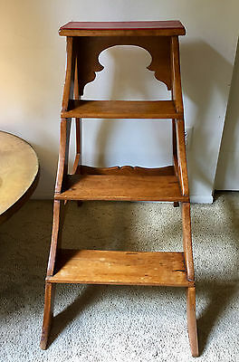 French Set Of Steps In Cherry Wood With Red Leather Top * Circa 1875 * France
