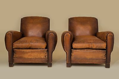 """French Art Deco Leather Club Chairs 1930s""""SEINE ET MARNE"""""""