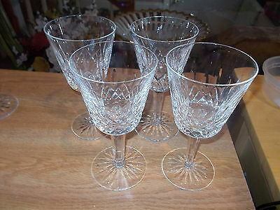 5 Waterford Crystal LISMORE Claret Wine Glasses - Signed
