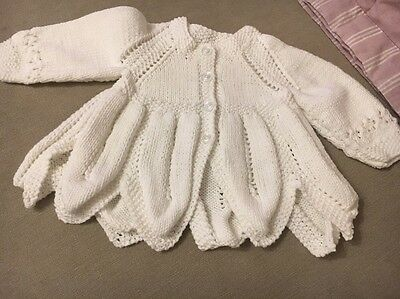 Hand Knitted Newborn Girls White Cardigan 3-6 Months Approx